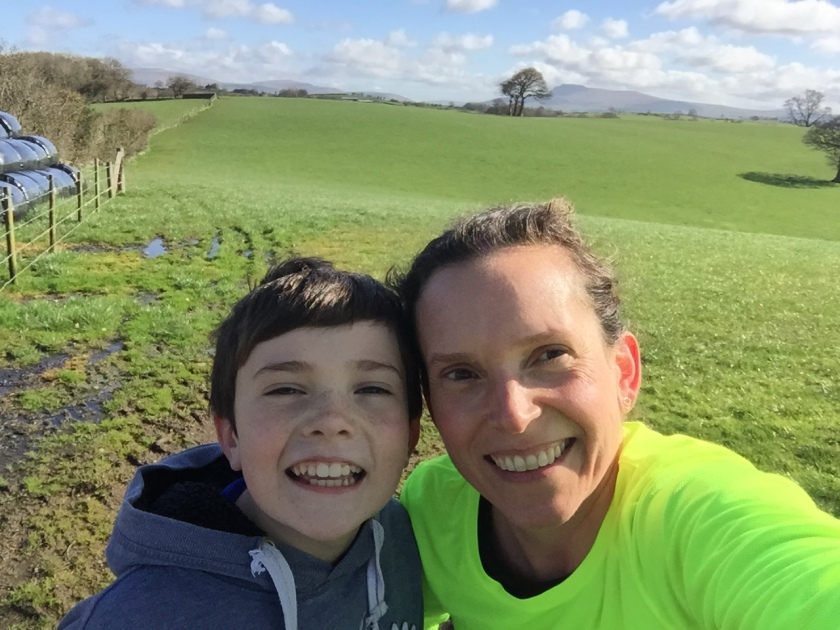 Run selfie with son
