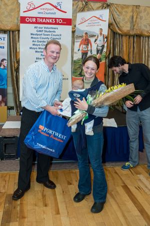 Prize-giving 2013 Westport Sea2Summit Adventure Race; Aran was four months old. (Photo courtesy of Westport Sea2Summit)